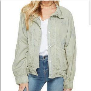 Free People | parachute green bomber jacket M
